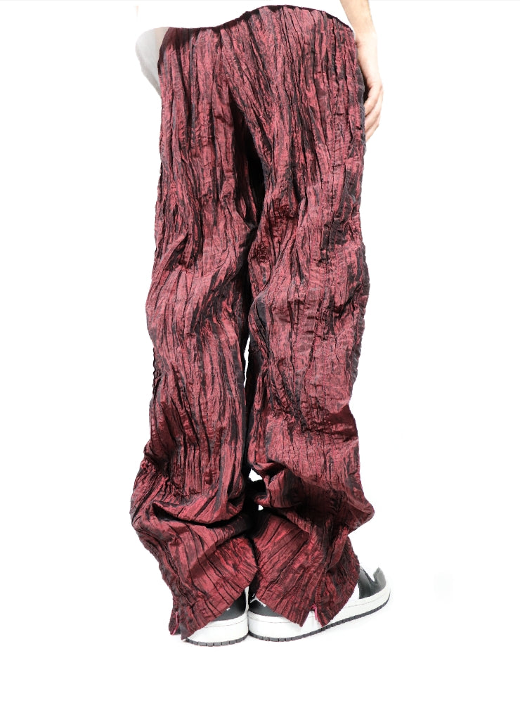 CRUMPLE RED TECHNICAL PANTS