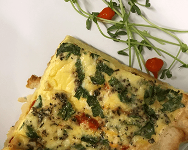 Roasted Red Pepper, Spinach & Feta Quiche