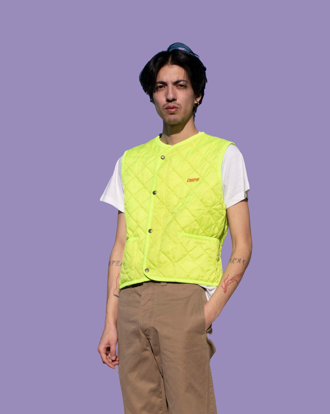Vintage Rare Y2k 00sCastrol Workwear Quilted Gilet Fluo