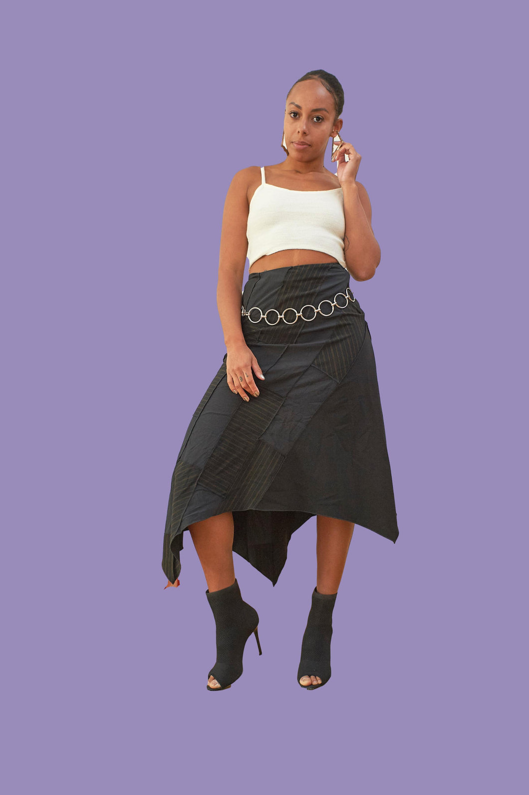 Vintage 00s Y2K Asymetrical Long Party Skirt