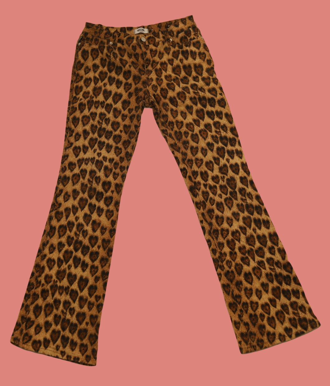 RARE Vintage 90s 00s y2k Heart Animal Print Moschino Jeans Trousers Pant