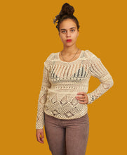 Load image into Gallery viewer, Vintage Rare DKNY Knitted Crochet Long sleeves Top