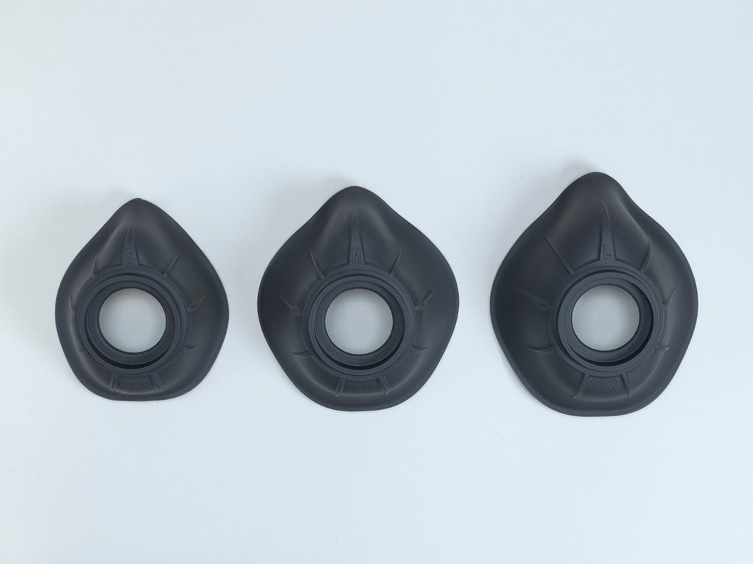 IMAGE OF THREE SIZES OF FACEPIECE