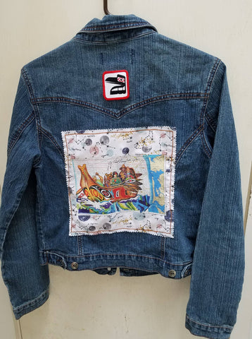Wearable Art Jeans Jacket (Access 3998) with Canoe Journey and Raven Patch Application