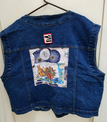 Wearable Art Jeans Jacket (Big and Tall) Vest with Canoe Journey and Raven Patch Application