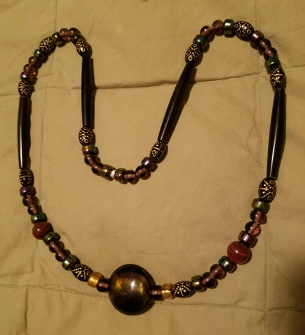 Necklace--Glass and Bone--dichroic brown/gold focal bead