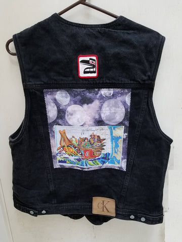 Wearable Art Jeans Jacket (Calvin Klein One) Black Vest with Canoe  Journey and Raven Patch Application