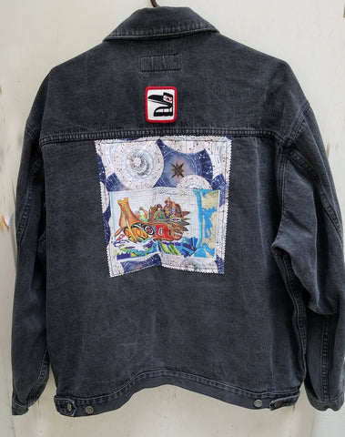 Wearable Art Jeans Jacket (Port Authority) with Canoe Journey and Raven Patch Application