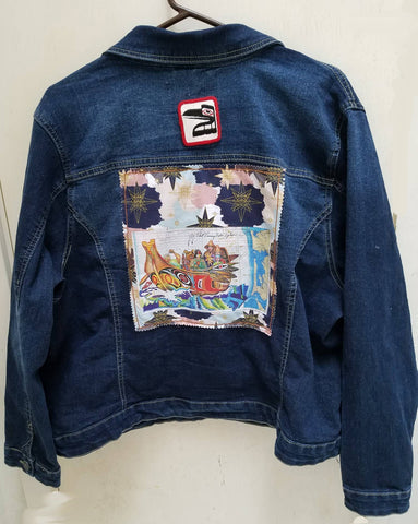 Wearable Art Jeans Jacket (New Look) with Canoe Journey and Raven Patch Application