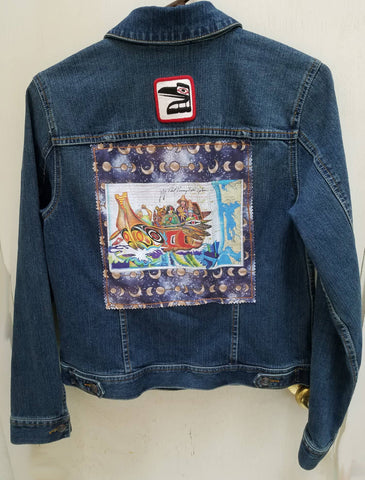 Wearable Art Jeans Jacket (Style and Co.) with Canoe Journey and Raven Patch Application