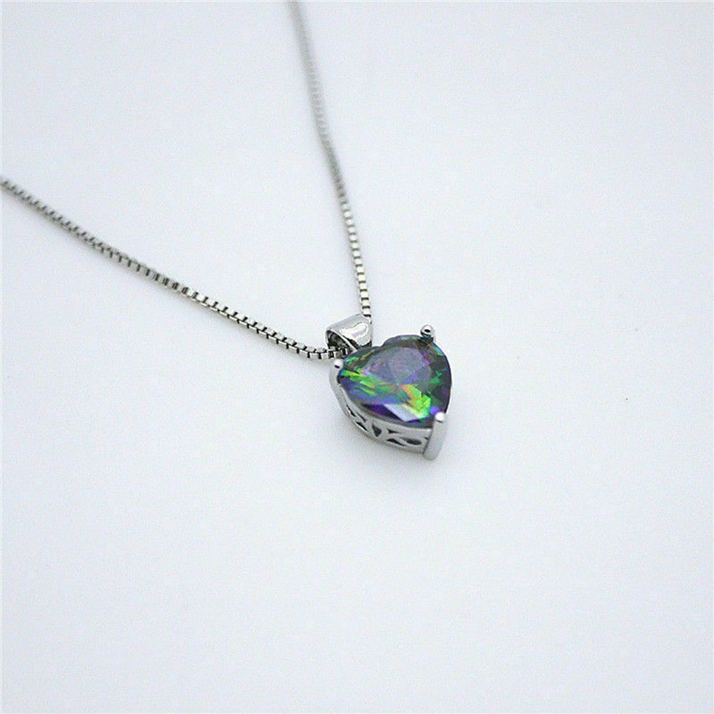 Rainbow Chain Heart Pendant Silver Necklace