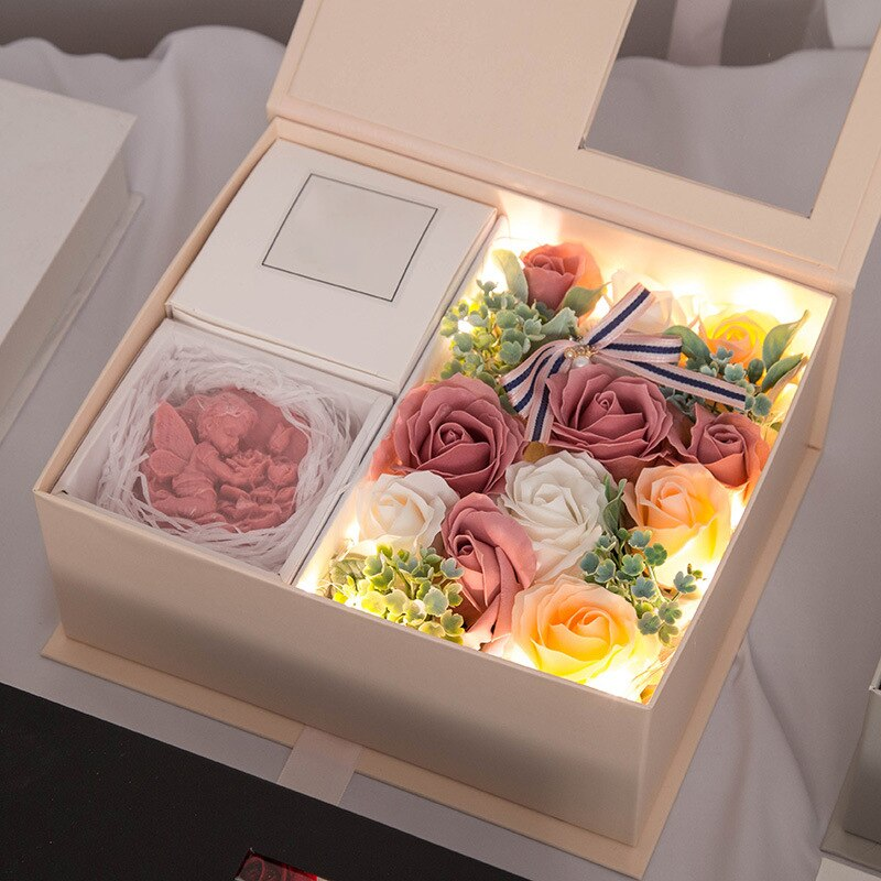Flowers Rose Bouquet Gift Box LED Artificial Soap Scented
