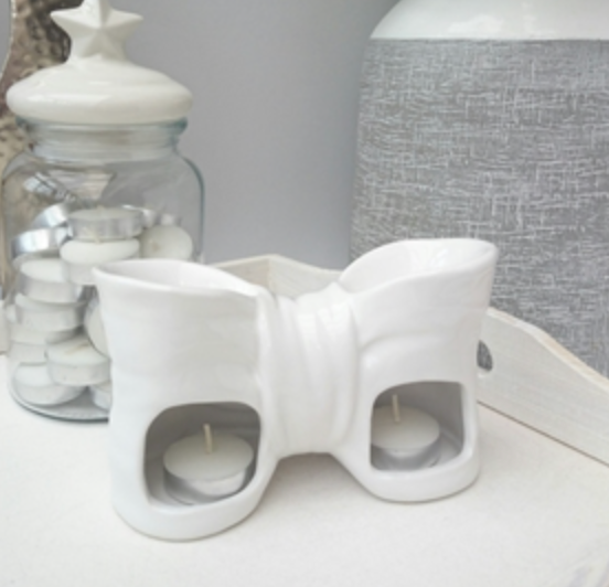White ceramic bow wax melt burner - SecretGardenChina