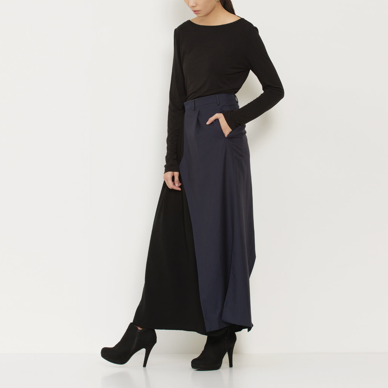 Refashion Contrast Long Skirt