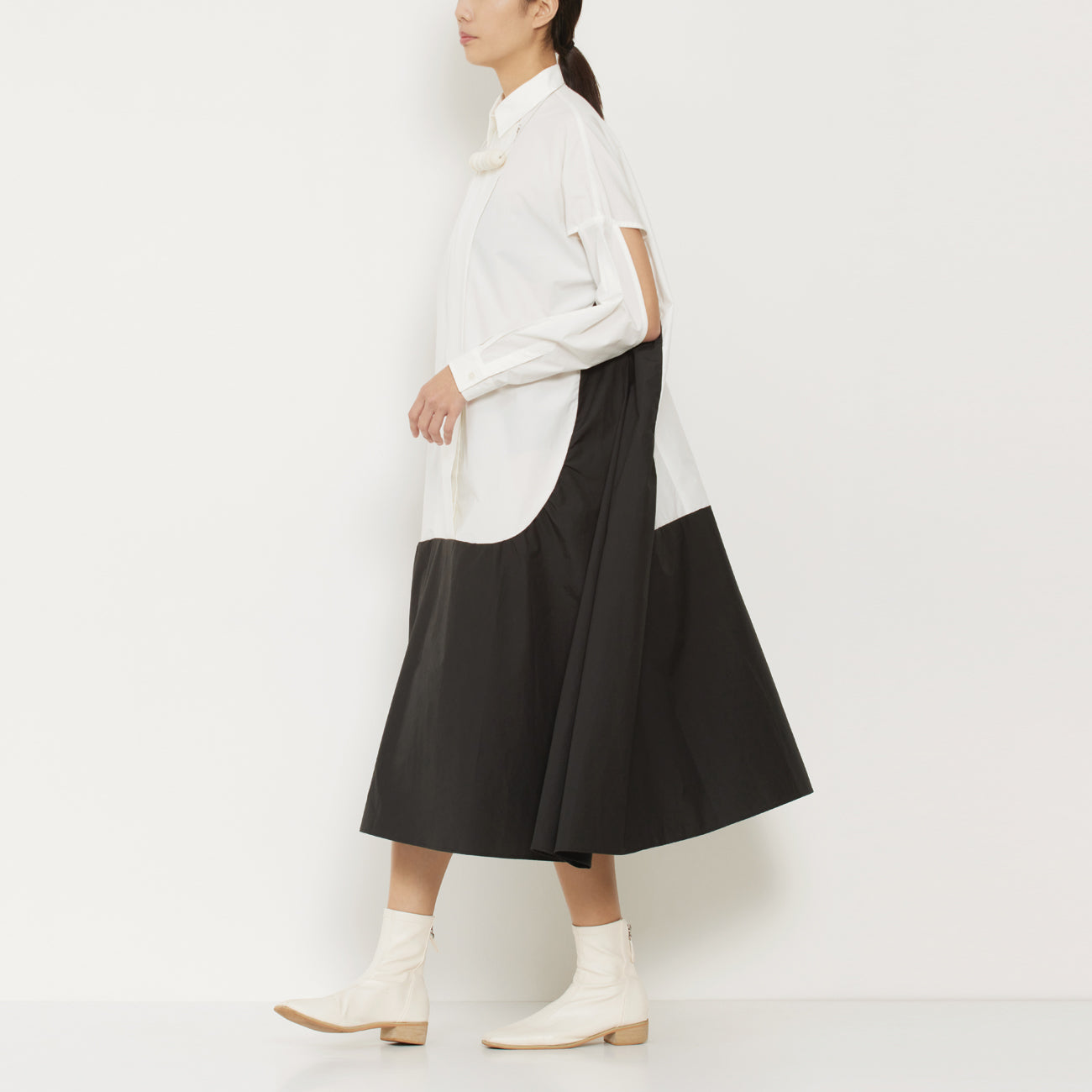 Contrast Panel Shirt Dress