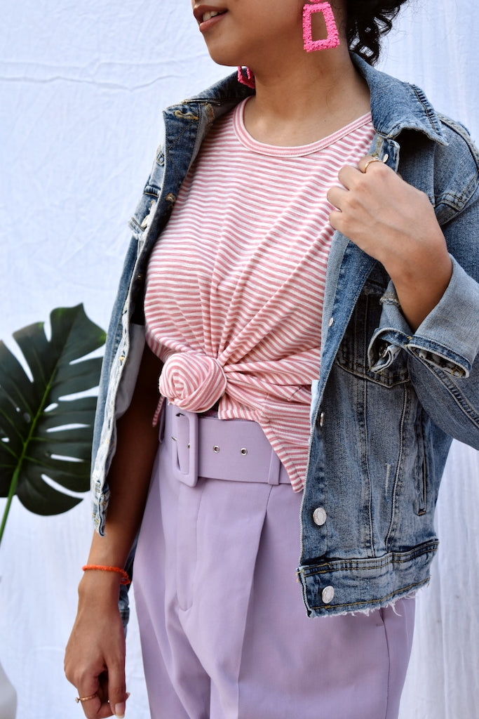 Striped Pink and white tee
