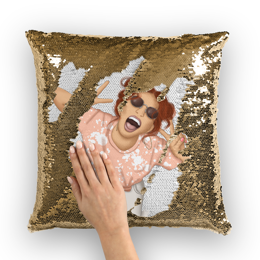 Happy Days Sequin Cushion Cover