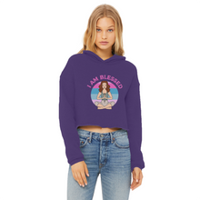 Load image into Gallery viewer, I AM BLESSED Ladies Cropped Raw Edge Hoodie