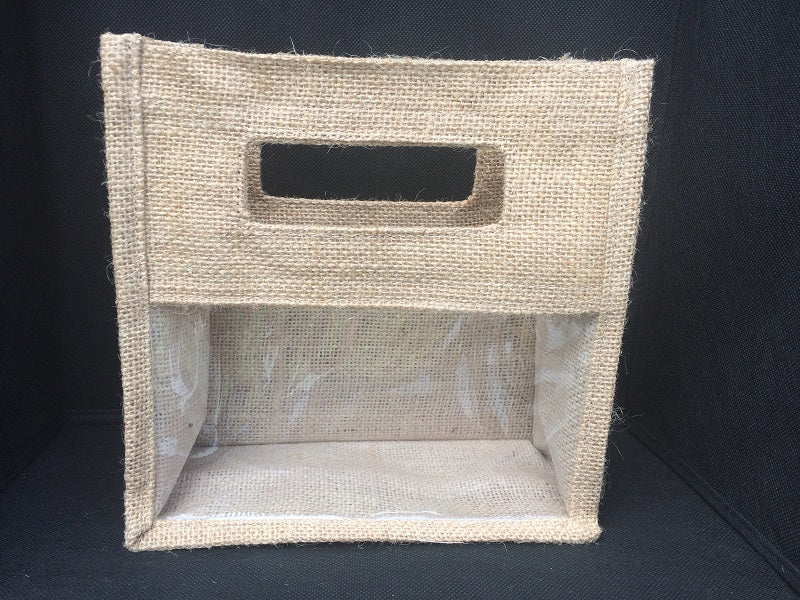 Natural Jute Bag with Clear Window Large