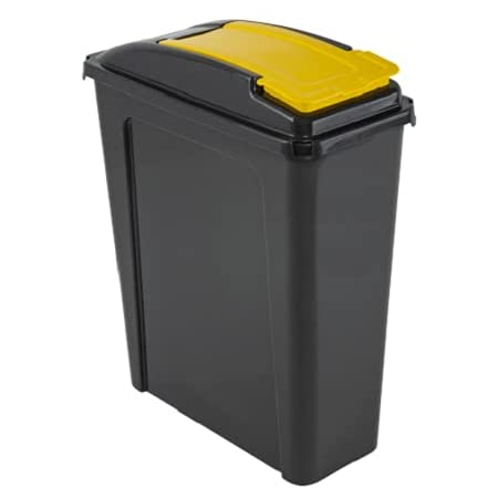 Wham 25 Litre Recycling / Pet Food Storage Bin - Yellow & Graphite, Pet Food Containers by Dog In A Box