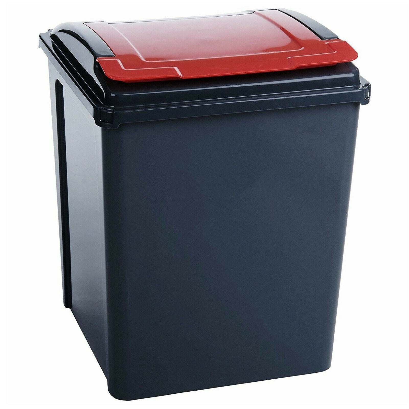 Wham 50 Litre Recycling or Pet Food Storage Bin | Red & Graphite, Pet Food Containers by Dog In A Box