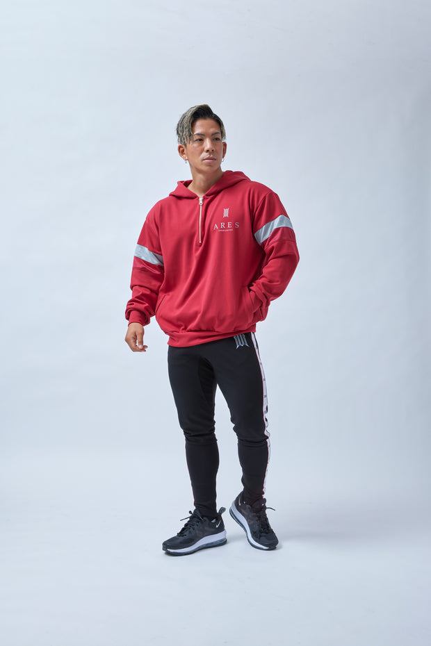 ARES BICOLOR LINE OVERSIZE HOODIE RED