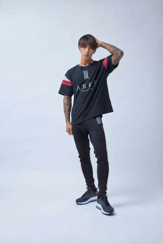 ARES BICOLOR LINE OVERSIZE T-SHIRTS BLACK