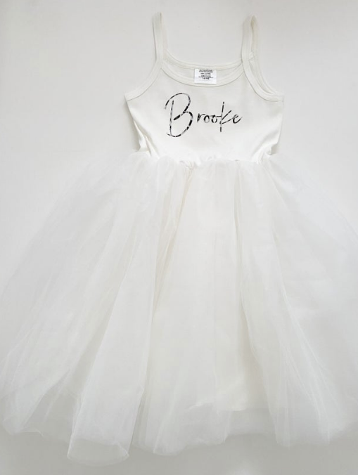 White Name Tulle Dress (6Months-8Years)