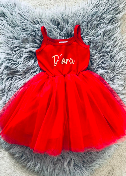 Christmas Name Tulle Dress (6Months-8Years)