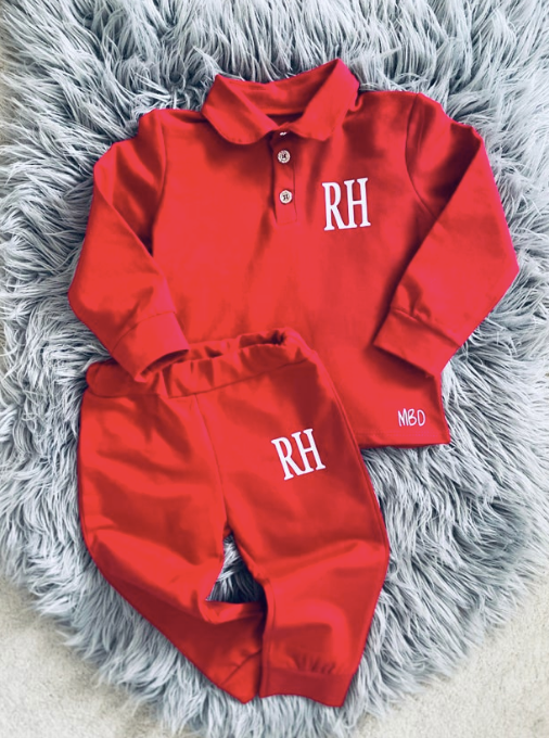 Collared Red Lounge Set- (3 Months-3 Years)