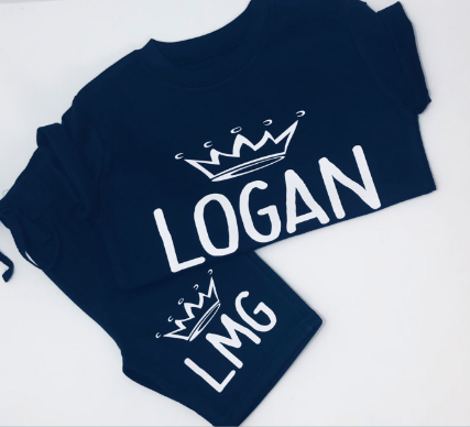 Crown Initial Shorts & Tshirt Set
