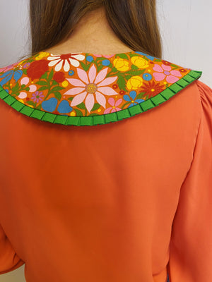 60s Floral Print Detachable Collar