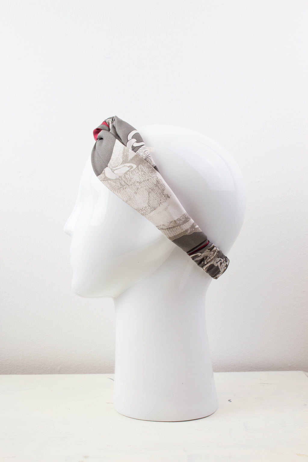 Grey and Red Silk Fabric Knot Headband