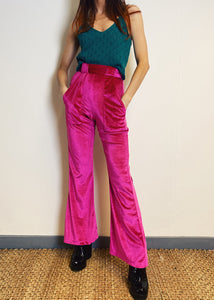 The Holly Flares in Cerise Velvet