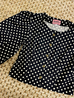 The Anna Blouse in Black Polka