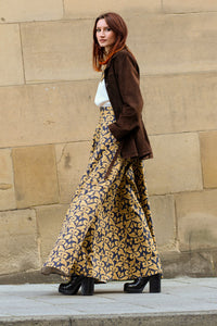 The Sophie Skirt in Gold Damask