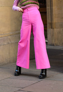 The Amy Palazzo Pant in Pink Cotton