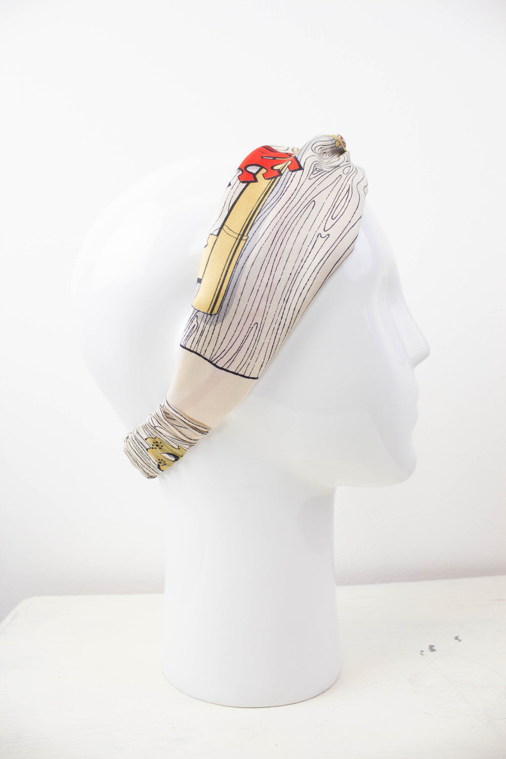Key Motif Silk Fabric Knot Headband