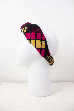 Pink Geometric Fabric Knot Headband Studio Courtenay