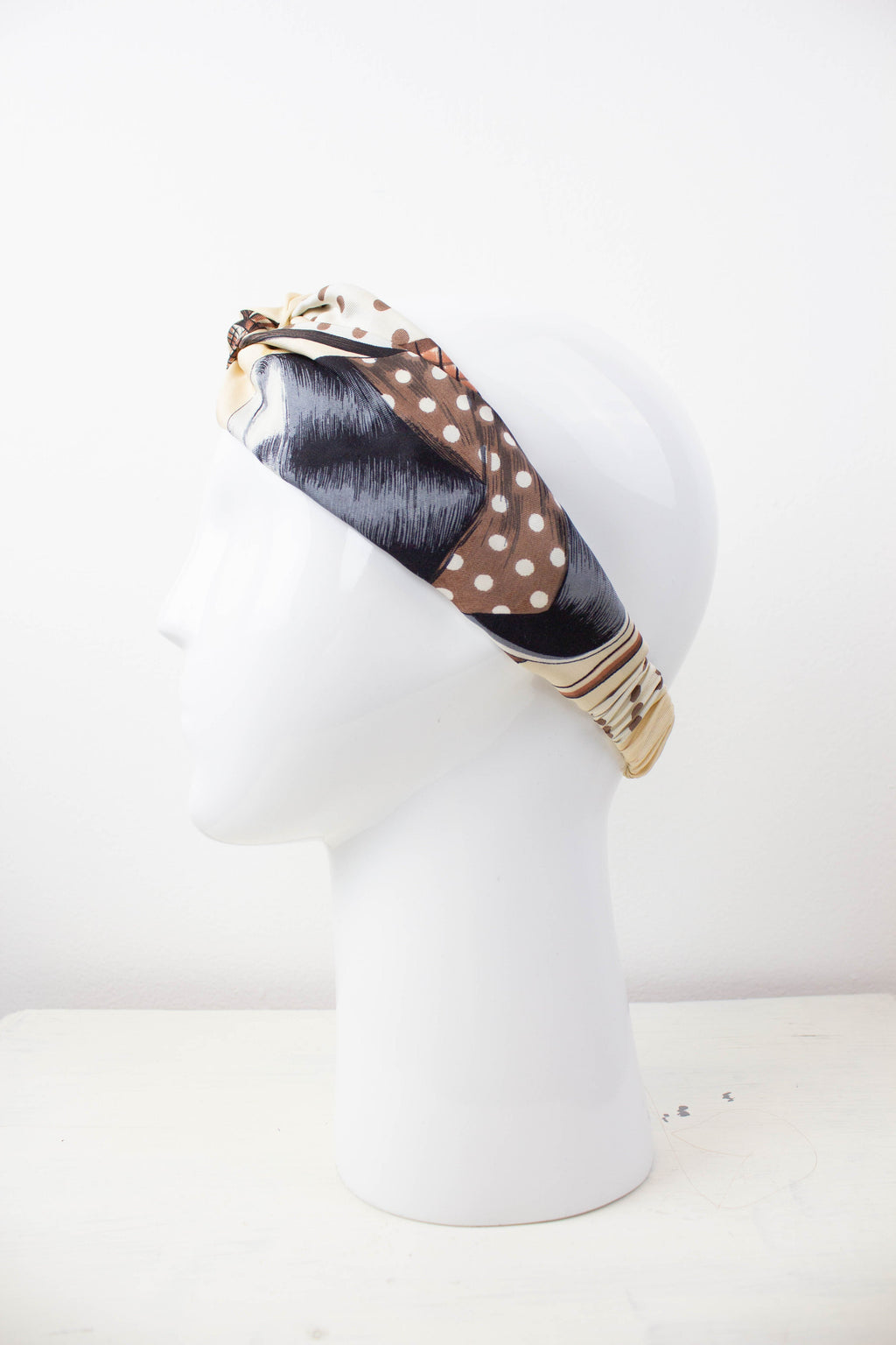Vintage Beige Silk Fabric Knot Headband Studio Courtenay