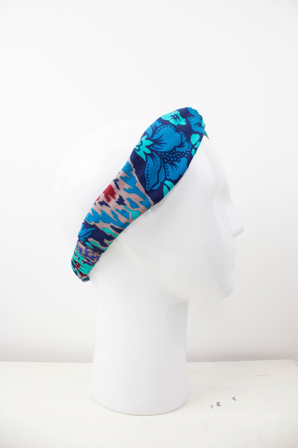 Vintage Blue Geometric Fabric Knot Headband