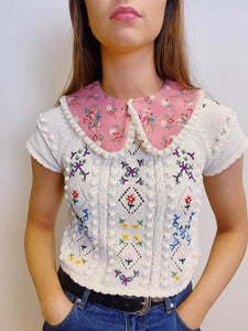 Baby Pink Floral Detachable Collar