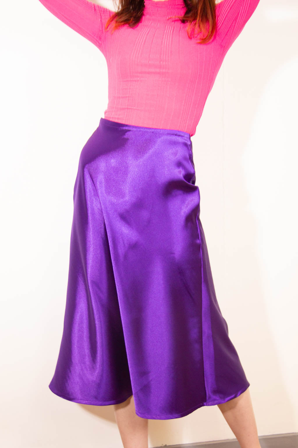 The Faith Skirt in Purple Satin