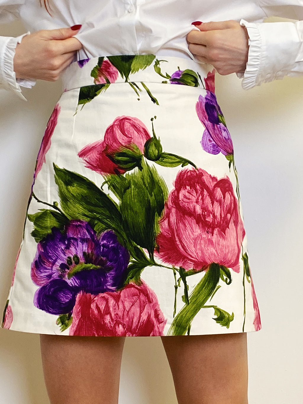 The Carey Skirt in Painted Floral