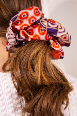 Red and Blue Geometric Print Silky Scrunchie Studio Courtenay