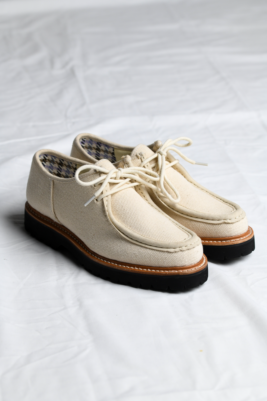 Pair of the Benni Shoe in Oatmeal by Good News London with a white background