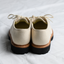 Rear view of the Benni Shoe in Oatmeal by Good News London with a white background