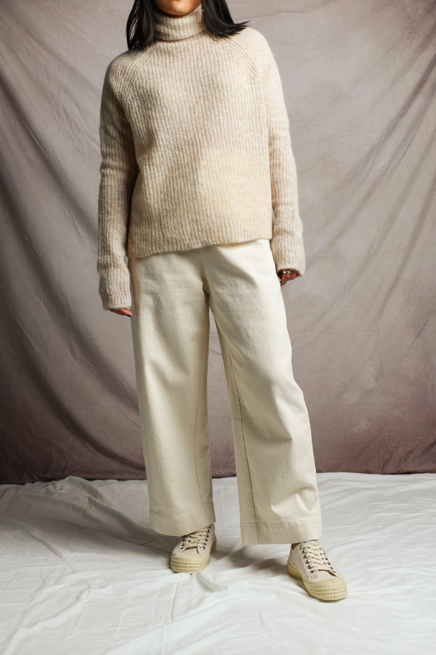 Soft Alpaca Turtleneck Sweater in Beige
