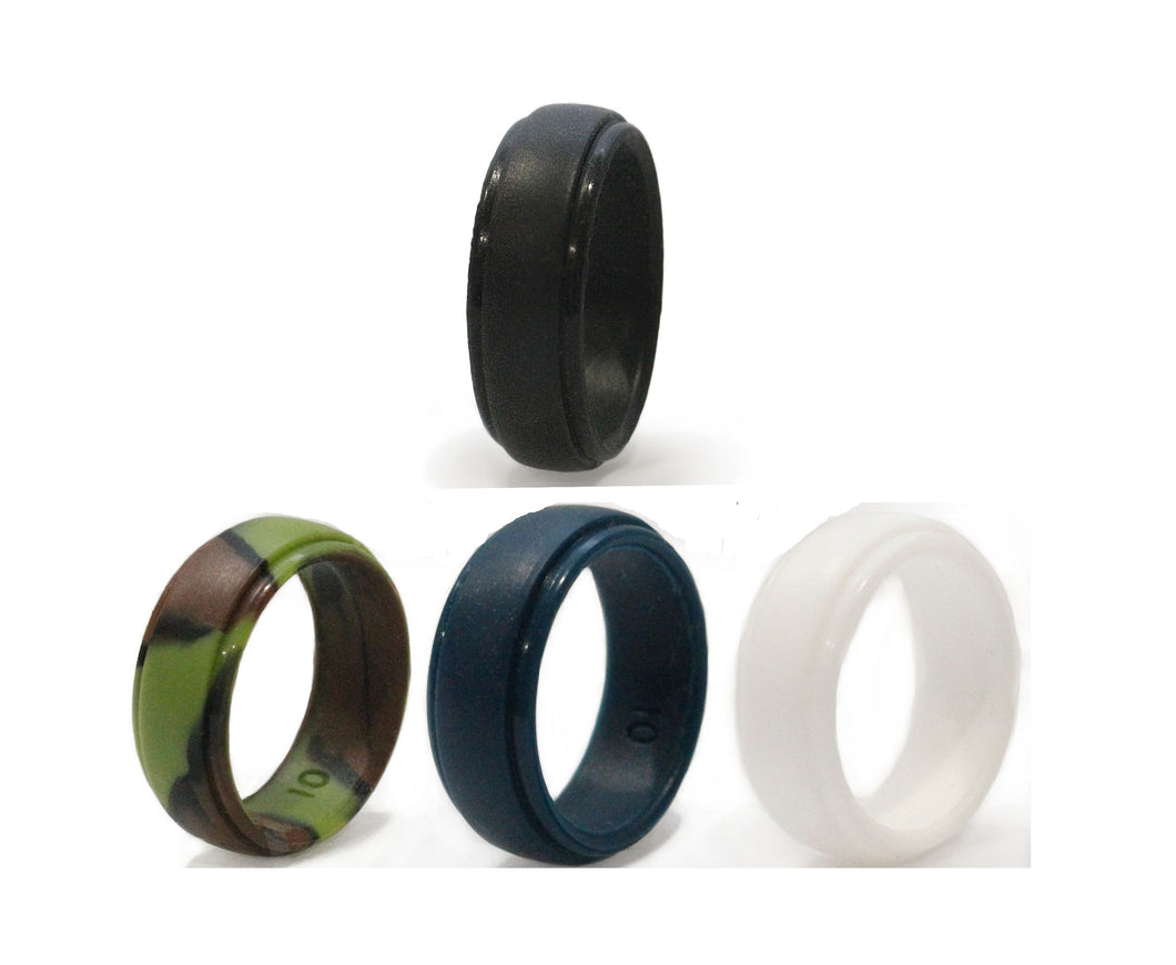 Classic Colors 4-pack - Dad's Ring - Safe Wedding Rings for Men