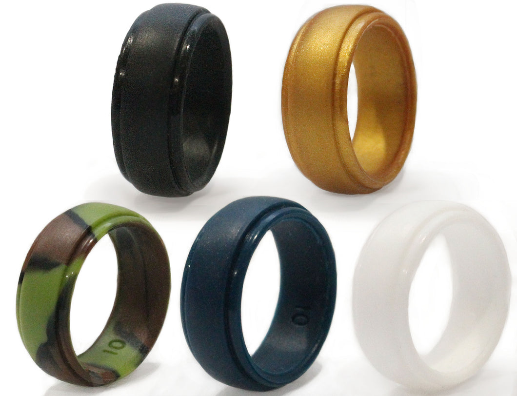 4 Pack - Your Choice of Black, Blue, Camo, White, Gold - Dad's Ring - Safe Wedding Rings for Men